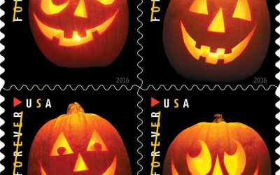 Get into the Early Halloween Spirit with These USPS Jack-O'-Lantern Stamps!